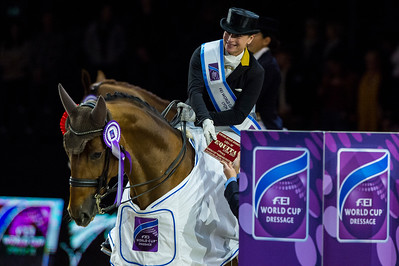 France, Lyon : Isabell WERTH riding Emilio  during the FEI World Cup™ Dressage - Freestyle competition, Equita Lyon, on November 3 , 2017, in Lyon, France - Photo Christophe Bricot