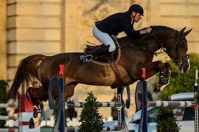 France, Versailles : Jerome HUREL riding URANO during the Versailles Castle Show Jumping at the stables of the kings, on May 5th , 2017, in Versailles, France - Photo Christophe Bricot