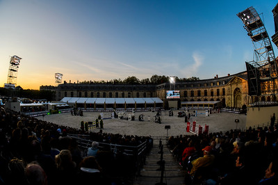 France, Versailles : general view of the arena during the Versailles Castle Show Jumping at the stables of the kings, on May 5th , 2017, in Versailles, France - Photo Christophe Bricot