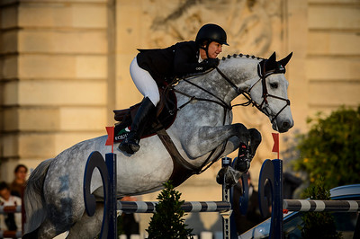 France, Versailles : Laura KRAUT riding CONFU during the Versailles Castle Show Jumping at the stables of the kings, on May 5th , 2017, in Versailles, France - Photo Christophe Bricot