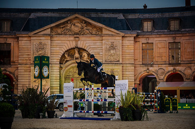 France, Versailles : Simon DELESTRE riding CHADINO during the Versailles Castle Show Jumping at the stables of the kings, on May 5th , 2017, in Versailles, France - Photo Christophe Bricot