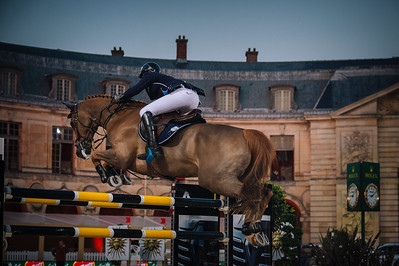 France, Versailles : Mathieu BILLOT riding RADJA DES FONTAINES during the Versailles Castle Show Jumping at the stables of the kings, on May 5th , 2017, in Versailles, France - Photo Christophe Bricot