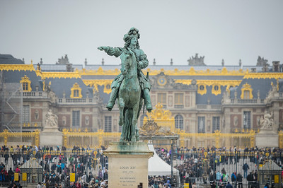 France, Versailles : Louis XIV Statue and the Versailles Castle in background during the Versailles Castle Show Jumping at the stables of the kings, on May 7th , 2017, in Versailles, France - Photo Christophe Bricot