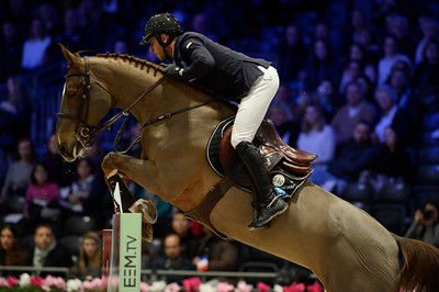 France, Villepinte : Julien EPAILLARD (FRA) riding Toupie de la Roque during the Longines Masters of Paris 2017, on December 1 , 2017, in Villepinte, France - Photo Christophe Bricot