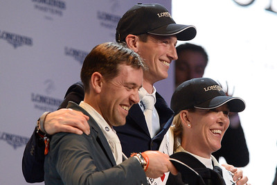 France, Villepinte : Simon Delestre (2nd), Daniel DEUSSER (GER) winner of the Grand Prix and Lauren hough  during the Longines Masters of Paris 2017, on December 3 , 2017, in Villepinte, France - Photo Christophe Bricot