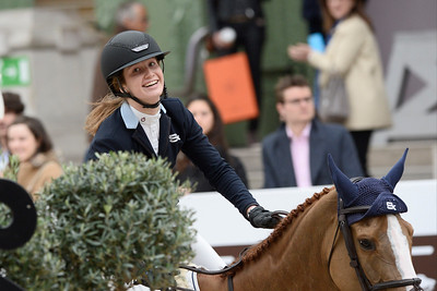 France, Paris : Emilie CONTER riding Espyrante during the Saut-Hermès Jumping competition in the Grand-Palais, on March 19th , 2017, in Paris, France - Photo Christophe Bricot