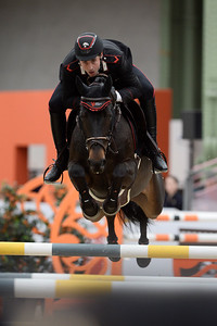 France, Paris : Emanuele GAUDIANO riding Carlotta 232 during the Saut-Hermès Jumping competition in the Grand-Palais, on March 19th , 2017, in Paris, France - Photo Christophe Bricot