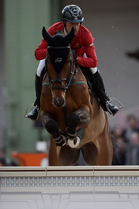 France, Paris : Pius SCHWIZER riding Leonard de la Ferme CH during the Saut-Hermès Jumping competition in the Grand-Palais, on March 17th , 2017, in Paris, France - Photo Christophe Bricot