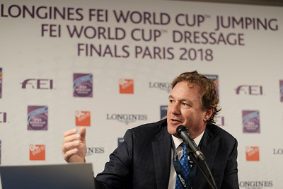 Paris, France : Press conference of FEI Equestrian Games of Tryon, USA. Mark Bellissimo (Managing Parteners and CEO of Tryon Equestrian Partners - World Equestrian Games) during the FEI World Cup Finals at the Accor Hotel Arena - Avril 11-15, on April 14, 2018, in Paris, France - Photo Christophe Bricot