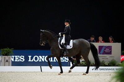 Paris, France : Isabell WERTH (GER) riding WEIHEGOLD OLD riding during the FEI World Cup Finals at the Accor Hotel Arena - Avril 11-15, on April 13, 2018, in Paris, France - Photo Christophe Bricot