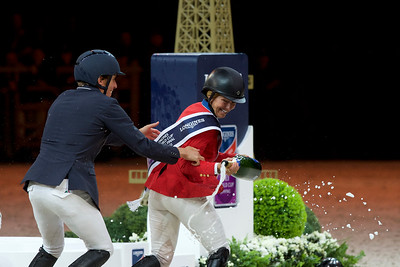 Paris, France : Winner Elizabeth (Beezie) MADDEN (USA) riding BREITLING LS, second place : Devin RYAN (USA) riding EDDIE BLUE, Third place : Henrik VON ECKERMANN (SWE) riding MARY LOU 194 during the FEI World Cup Finals at the Accor Hotel Arena - Avril 11-15, on April 15, 2018, in Paris, France - Photo Christophe Bricot