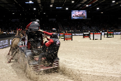 France, Bordeaux : Jérôme VOUTAZ (SUI) in action during the FEI World Cup Driving Finale - International  Jumping of Bordeaux, on February 4, 2018, in Bordeaux, France - Photo Christophe Bricot