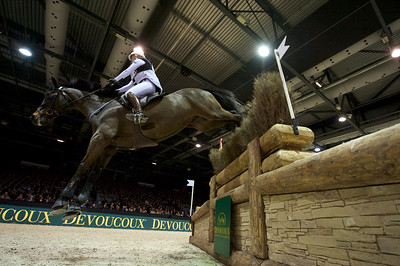 France, Bordeaux : Gwendolen Fer riding Rubis Des Islots during the Devoucoux Indoor Derby competition, International Show Jumping of Bordeaux, on February 2, 2018, in Bordeaux, France - Photo Christophe Bricot