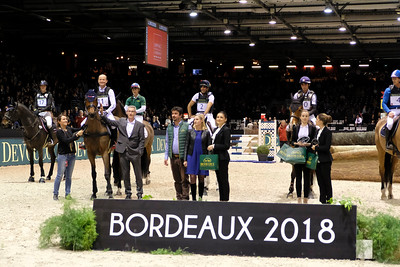 France, Bordeaux :Michael Jung riding Corazon during the Devoucoux Indoor Derby competition, International Show Jumping of Bordeaux, on February 2, 2018, in Bordeaux, France - Photo Christophe Bricot