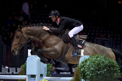 France, Bordeaux : Alexis DEROUBAIX (FRA) riding ALDO DU PLESSIS during the Bordeaux Young Sires Masters by Selle Français competition of the International Show Jumping of Bordeaux, on February 2, 2018, in Bordeaux, France - Photo Christophe Bricot