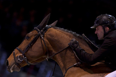 France, Bordeaux : Francois Xavier BOUDANT (FRA) riding GFE AMANT DU CHATEAU during the Bordeaux Young Sires Masters by Selle Français competition of the International Show Jumping of Bordeaux, on February 2, 2018, in Bordeaux, France - Photo Christophe Bricot