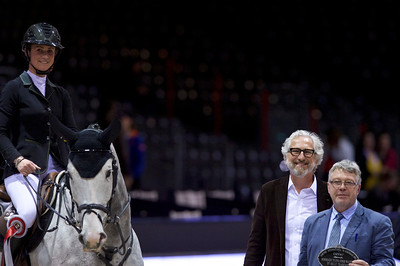 France, Bordeaux : Penelope LEPREVOST (FRA) riding GFE EXCALIBUR DE LA TOUR VIDAL during the Bordeaux Young Sires Masters by Selle Français competition of the International Show Jumping of Bordeaux, on February 2, 2018, in Bordeaux, France - Photo Christophe Bricot