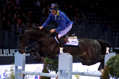 France, Bordeaux : Christian AHLMANN (GER) riding SOLID GOLD Z during the Bordeaux Young Sires Masters by Selle Français competition of the International Show Jumping of Bordeaux, on February 2, 2018, in Bordeaux, France - Photo Christophe Bricot