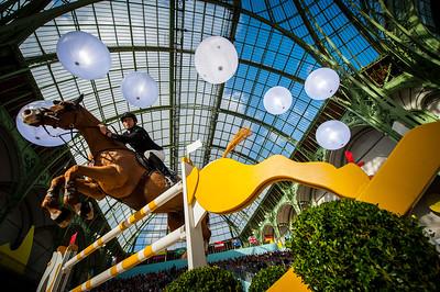 Paris, France : Margaux BOST (FRA) riding AS DE PAPIGNIES during the Saut-Hermès in the Grand Palais, on March 16, 2018, in Paris, France - Photo Christophe Bricot
