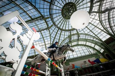 Paris, France : Daniel DEUSSER (GER) riding CORNET 39 during the Saut-Hermès in the Grand Palais, on March 16, 2018, in Paris, France - Photo Christophe Bricot