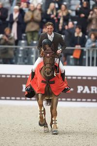 Paris, France : Simon DELESTRE (FRA) riding HERMES RYAN during the Saut-Hermès in the Grand Palais, on March 18, 2018, in Paris, France - Photo Christophe Bricot