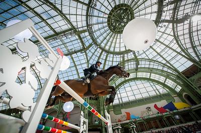Lorenzo DE LUCA (ITA) riding ENSOR DE LITRANGE LXII during the Saut-Hermès in the Grand Palais, on March 16, 2018, in Paris, France - Photo Christophe Bricot