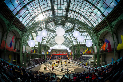 Paris, France : Panoramic view of the Arena during the Saut-Hermès in the Grand Palais, on March 16, 2018, in Paris, France - Photo Christophe Bricot