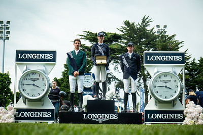 France, La Baule : Simone Blum riding Dsp Alice winner of the Grand Prix, Steve Guerdat (2nd), Darragh Kenny (3rd) during the Longines FEI Jumping Nations Cup™ de France-La Baule, on May 19th , 2019, in La Baule, France - Photo Christophe Bricot