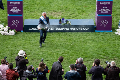 France, La Baule : winners, Switzerland team : chef d'équipe Andy Kistler celebrates during the Longines FEI Jumping Nations Cup™ de France-La Baule, on May 17th , 2019, in La Baule, France - Photo Christophe Bricot