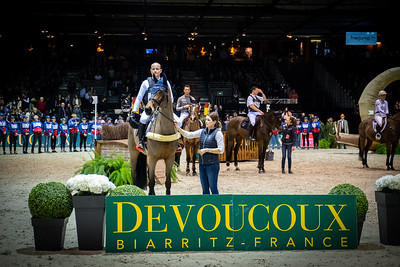 {country}, {city} : prize giving ceremony for Michael Jung for Germany riding Corazon during the Devoucoux indoor derby , Jumping International in Bordeaux, western France, on February 8th , 2019, in {city}, {country} - Photo Christophe Bricot / CEB