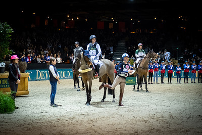 {country}, {city} : Michael Jung for Germany riding Corazon and Karim Florent Laghouag during the Devoucoux indoor derby , Jumping International in Bordeaux, western France, on February 8th , 2019, in {city}, {country} - Photo Christophe Bricot / CEB