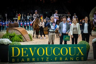 {country}, {city} : prize giving ceremony for Karim Florent Laghouag for France during the Devoucoux indoor derby , Jumping International in Bordeaux, western France, on February 8th , 2019, in {city}, {country} - Photo Christophe Bricot / CEB