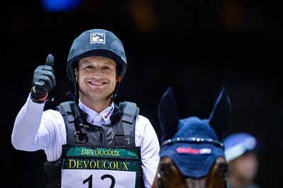 France, Bordeaux : Michael Jung for Germany riding Corazon, winner of the Devoucoux indoor derby during the Jumping International in Bordeaux, western France, on February 8th , 2019, in Bordeaux, France - Photo Christophe Bricot / CEB