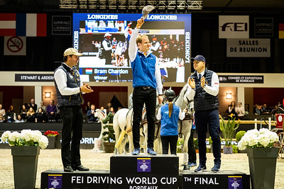 France, Bordeaux : Koos de Ronde, Bram Chardon, Glenn Geerts during FEI Driving World Cup Final,  Jumping International in Bordeaux, western France, on February 10th , 2019, in Bordeaux, France - Photo Christophe Bricot / CEB