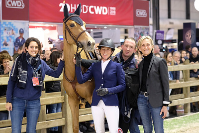 France, Bordeaux :  Felicie Bertrand for France riding Sultane des Ibis and wins the Land Rover Grand Prix, with owner Mme Mrégret and Elise Megret, groom during the Jumping International in Bordeaux, western France, on February 10th , 2019, in Bordeaux, France - Photo Christophe Bricot / CEB