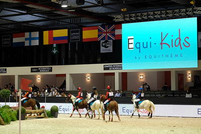 France, Bordeaux : Illustration, Prize giving Ceremony with Karim Florent Laghouag during the derby Ponies Qui-Kids by Equithème of the Jumping International in Bordeaux, western France, on February 9th , 2019, in Bordeaux, France - Photo Christophe Bricot / CEB