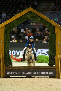 France, Bordeaux : Arthur Lepetit of France riding Titus Elvey during the derby Ponies Qui-Kids by Equithème of the Jumping International in Bordeaux, western France, on February 9th , 2019, in Bordeaux, France - Photo Christophe Bricot / CEB