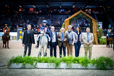 France, Bordeaux : Arthur Lepetit of France riding Titus Elvey, Prize giving Ceremony with Karim Florent Laghouag during the derby Ponies Qui-Kids by Equithème of the Jumping International in Bordeaux, western France, on February 9th , 2019, in Bordeaux, France - Photo Christophe Bricot / CEB