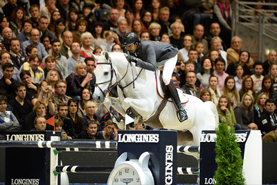 France, Lyon :  Sheik Ali bin Khaled AL THANI (QAT) riding on CANTARO 32  during the Longines Grand Prix 2013  - LONGINES FEI WORLD CUP™- Equita Lyon 2013 - Photo Christophe Bricot