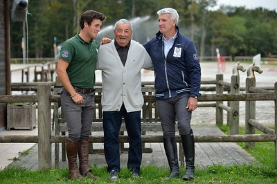 France, Barbizon : Roger-Yves Bost at home for a photo shooting with his father an son Nicolas on october 8th, 2013 in Barbizon, Haras des Brulys. -  Photo Christophe Bricot