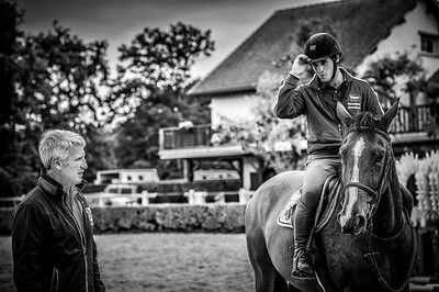 France, Barbizon : Roger-Yves Bost at home for a photo shooting on october 8th, 2013 in Barbizon, Haras des Brulys. with Nicolas, his son on the horse Vallon Du Dame (Idéal de la Loge X Airborne Montecillo)-  Photo Christophe Bricot