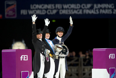 Paris, France : Isabell WERTH (GER) riding WEIHEGOLD OLD, World Champion, second place : Laura GRAVES (USA) riding VERDADES, Third place: Jessica VON BREDOW-WERNDL (GER) riding UNEE BB  during the FEI World Cup Finals at the Accor Hotel Arena - Avril 11-15, on April 14, 2018, in Paris, France - Photo Christophe Bricot