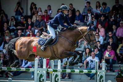 """France, Le Touquet : MARTIN Maelle riding GIOVANI DE LA POMME  during  the """" Le Touquet Show Jumping """" (Grand Prix Grand Hôtel **** du Touquet)  , on May 10th 2015 , Le Touquet, France - Photo Christophe Bricot"""