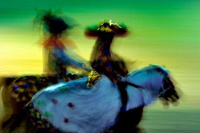 France, PARIS : Salon du cheval 2013 -  La nuit du cheval - carrousel du Poney Club des Anguilles avec pour thème l'Italie - samedi 30 Novembre 21013 - Photo Christophe Bricot