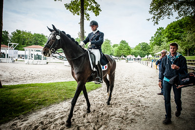 France, Compiègne : Pierre Volla (France) riding Sir Piko during the Prix Colas , Dressage competition of the CDI2* of Compiègne on May 21th , 2016, in Compiègne, France - Photo Christophe Bricot