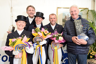 France, Compiègne : French Team ; Karen Tebar, Ludovic Henry, Stéphanie Brieussel, Pierre Volla and Jan Bemelmans during the Prize giving Ceremony of  FEI Nations Cup competition of the CDIO5* of Compiègne on May 22th , 2016, in Compiègne, France - Photo Christophe Bricot