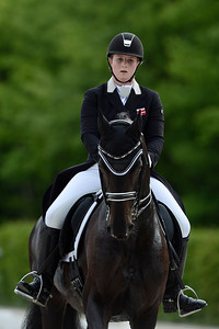 France, Compiègne : Emilie Kampmann (Denmark) riding Rubin Eg during the Individual Young Riders Dressage competition of the CDIY of Compiègne on May 21th , 2016, in Compiègne, France - Photo Christophe Bricot