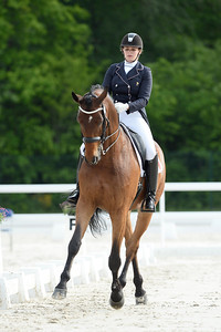 France, Compiègne : Caroline Dufil (France) riding Ardante during the Individual Young Riders Dressage competition of the CDIY of Compiègne on May 21th , 2016, in Compiègne, France - Photo Christophe Bricot
