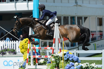 France, La Baule : Sanne Thijssen riding Bulavsco  during the Derby, Derby des régions des Pays de la Loire, FEI Longines International Jumping of La Baule , on May {day th , {year4}, in La Baule, France - Photo Christophe Bricot