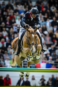 France, La Baule : Cedric Angot riding Saxo De La Cour during the FEI Nations Cup, Longines International Jumping of La Baule , on May 12th , 2017, in La Baule, France - Photo Christophe Bricot
